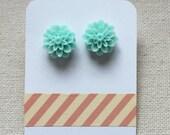 Mint Green Resin Dahlia Earrings
