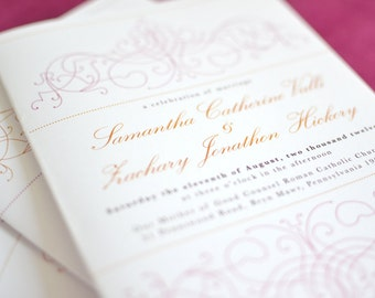 Wedding Program: Citrus Vintage Bohemian with pink and orange