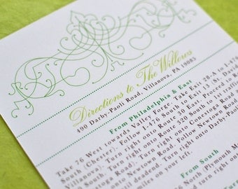 Wedding Invitation Insert: Vintage Bohemian Green Garden Large Insert (Directions Card, Reception Card, Places to Stay, Things to do Card)