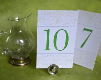 Wedding Table Numbers: Vintage Bohemian Green Garden Table Cards with chartreuse, emerald green, and spring green
