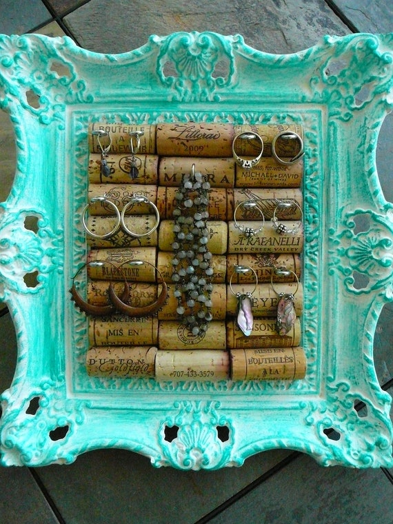 Jewelry Holder Vintage Picture Frame Wine Cork