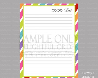 Colorful - To Do List -  PDF Printable File - Instant Digital Download