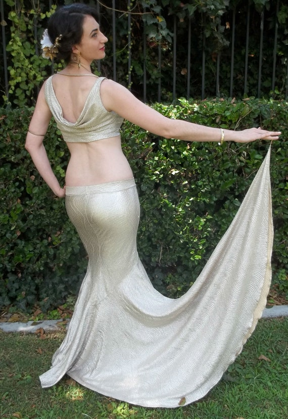 Mermaid Skirt, Erte Inspired  with Side Train