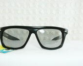 Vintage 60s Sunglasses 1960's Mens Sunglass Black Flat Top Large Unisex Dark Lens Shade New Old Stock with Tag