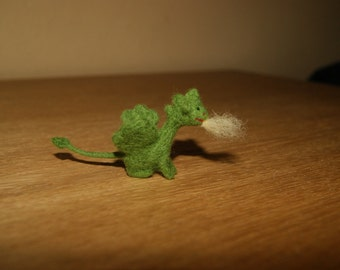 Tiny felted green dragon, soft sculpture, miniature dragon, fairy tale animal, natural toys