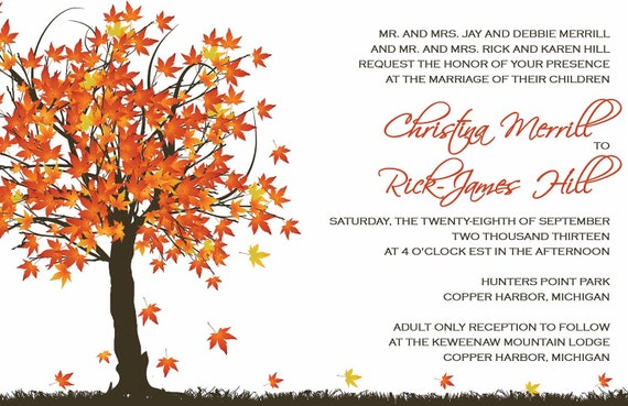 Custom listing for renaissancewoman2003 - autumn fall in love invitations