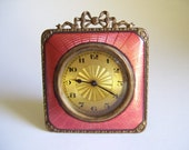 Vintage Guilloche Enamel & Brass Travel Clock With Easel Stand