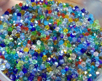 50 pieces 4mm Bicone Crystals mixed colors ... beautiful, sparkly .... new lower price ... destash sale
