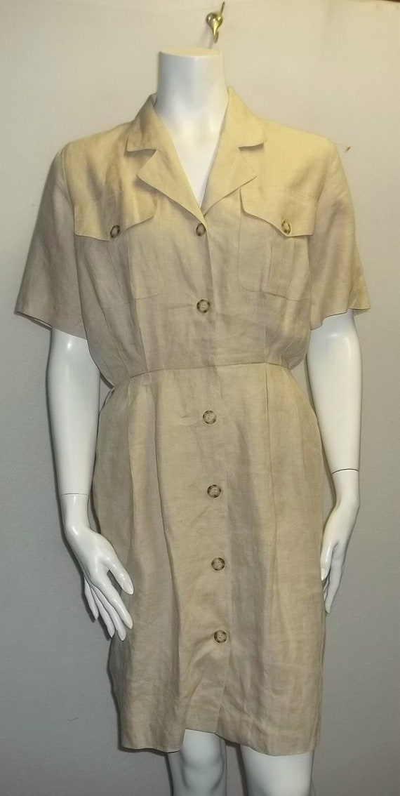 Brooks brothers shirt dress 6 s pure irish linen oat tan for Irish linen dress shirts