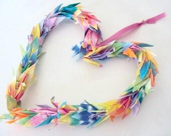 FINAL SALE Origami Crane Heart Ornament (2 piece set)