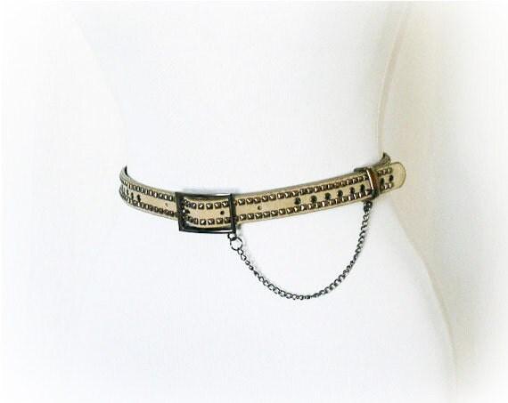 Vintage 90s Belt Tan Grunge Studded Metal Chain