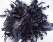Bridal Wedding Bouquet Punk 4 Roses - Gothic Black Roses with Black and White Polka Dot and Black Chandelle Feathers - DarkRoseTreasures