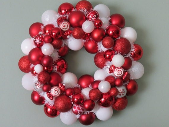 PEPPERMINT CHRISTMAS Ornament Wreath 25-- as seen in Southern Living
