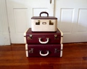 Mid Century Suitcase Set Vintage Luggage Set 1950s Antique Travel Set Train Case