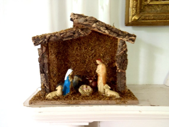Vintage Nativity Scene Bark and Moss Religious Christmas Decoration