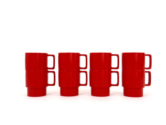 Melamine Cups Stacking Red Mugs