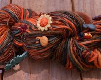 Handspun Yarn, Handspun Art Yarn, Handpainted Yarn, Autumn Harvest, 150 yards, 8 wpi, Wool Yarn