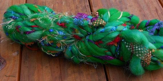 Handspun Yarn, Handspun Art Yarn, Christmas Tree, Super Bulky yarn, Wool Yarn, 31 yards, 3.5 wpi