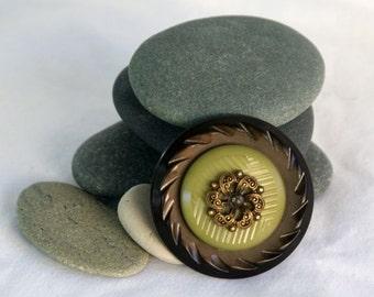 Vintage brown celluoid, green plastic, metal, Button Brooch, OOAK