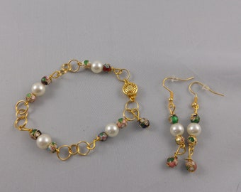 Pearl and Gold Colorful Flower Bracelet and Earring Set