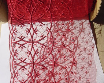 Dark red width beautiful shimmering net embroidery Lace trim to altered your couture designs