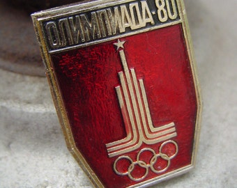 Super rare Soviet metal pin - sport theme - Olympig games logo - simbol - tribute to the Olympic games 1980 in Soviet Russia