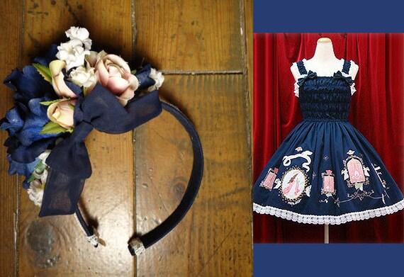 Custom Lolita Dress Matching Floral Hair Accessory