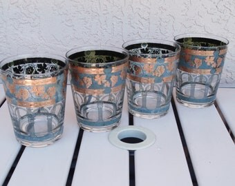 Vintage CERA  Four Gray And Gold Beverage Tumblers Glasses.