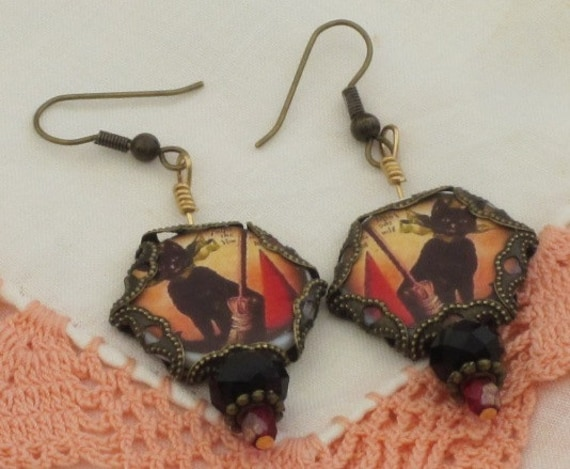 BlACK CaT  - HALLOWEEN EARRINGS -  Witches Hat and Broomsick Dangles