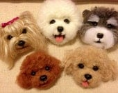 Needle wool felt puppy head magnets for the fridge