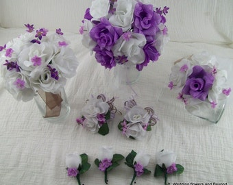 Lavender and White Bridal Bouquets Boutonnieres Silk Flower Package 9 piece made to order LoTS oF CoLoRS aVaiLaBLe Brides on a Budget