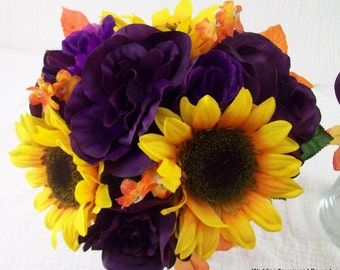 Sunflower Bridal Bouquets Purple Orange and yellow Silk Wedding Flower Package Fall Bridesmaid Bouquets and Sunflower Boutonnieres