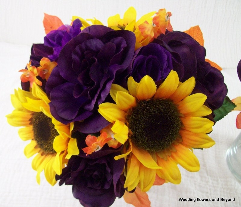 Sunflower Bridal Bouquets Purple Orange And Yellow Wedding