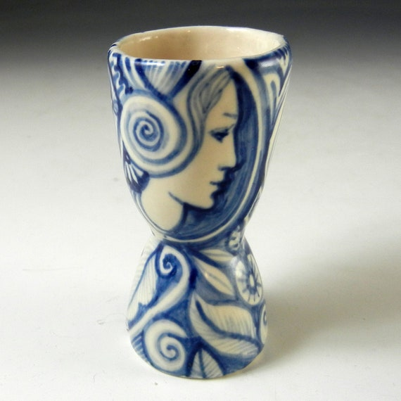 Little blue and white double porcelain cup