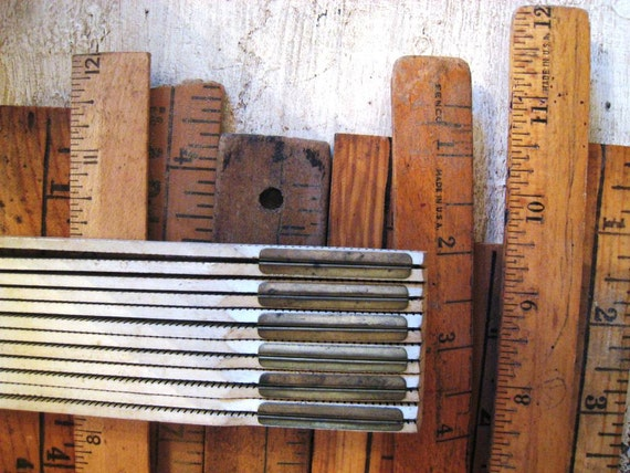 10 Vintage Wooden Rulers and Yardsticks - Assorted sizes
