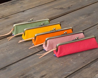 Rainbow Waxed Cotton Canvas Frame Pencil Case / 5 color available