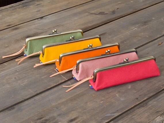 Rainbow Waxed Cotton Canvas Frame Pencil Case / 5 color available
