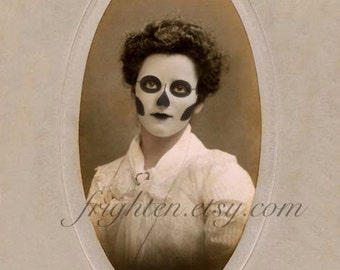 Day of the Dead Art, Halloween Decor, Sepia Art, Skeleton Art, Unusual Portrait, Creepy Art, Halloween Wall Art, Haunting Portrait