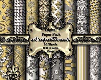 "Digital Scrapbook Paper Pack - 16 Digital Paper (12"" X 12"" - 300 DPI) - Damask Gray Yellow- Digital Background - INSTANT DOWNLOAD"