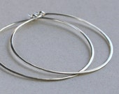 Sterling Silver Hoop Earrings, Medium 1 1/2 Inch, Handmade Jewelry