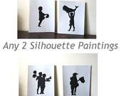 Any Two original black silhouette Paintings, group rate, group deal