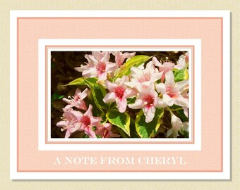 Weigela In Bloom - Pink Perfection - Personalized Note Cards (10 Folded)