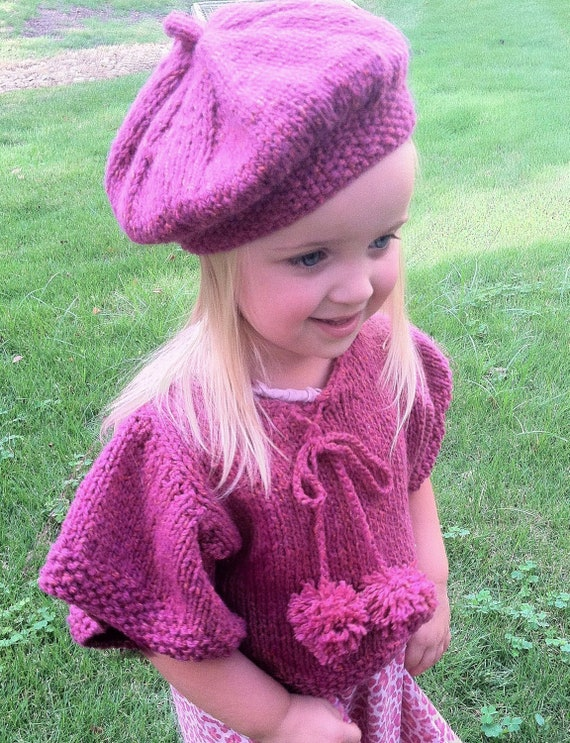 Knitted Beret Pattern Toddler : Items similar to The Tesslyn Knit Capelet / Poncho and Beret pattern, toddler...