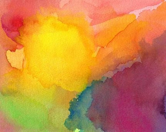 Abstract Painting, Original watercolor art yellow, Heart and Soul