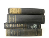 antique book collection. black and gold.