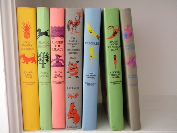 Vintage collection of 7 Junior Deluxe childrens books. Black Beauty. Under the Lilacs. Marco Polo....