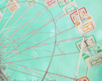 Carnival Ferris Wheel Photograph Mint Green Bokeh Dreamy Nursery Decor Carnival ride 8x8