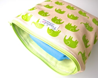 Zippered Pouch / Nappy or Diaper Case - Green Elephants (not a wet bag)