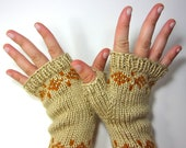 SALE - Knit Fair Isle Fingerless Mitts - Cream and Gold