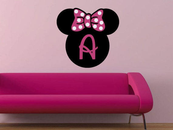 Minnie Mouse personalized initial monogram vinyl wall decal